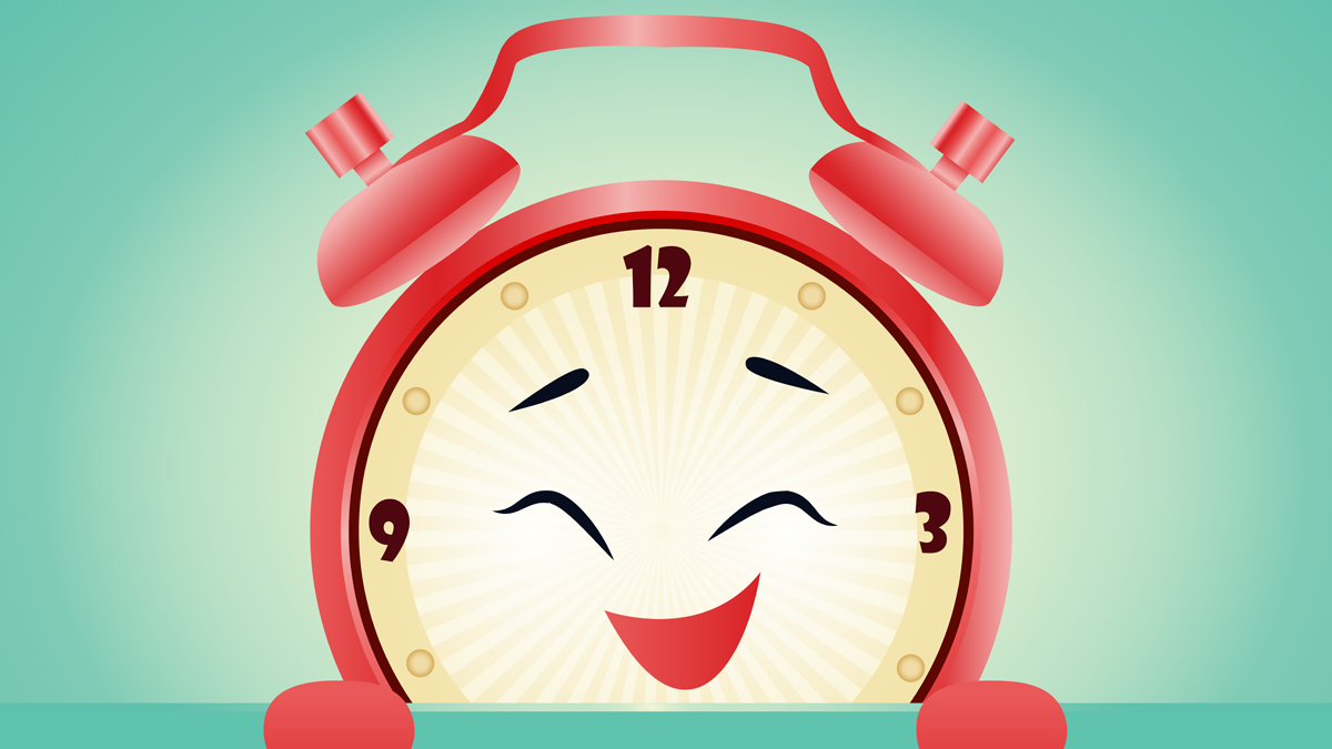 Happy Clock illustration for the artcile about daylight saving time