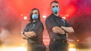 EMT frontline workers wearing masks