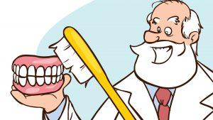 Graphic Dentist Brushing Teeth