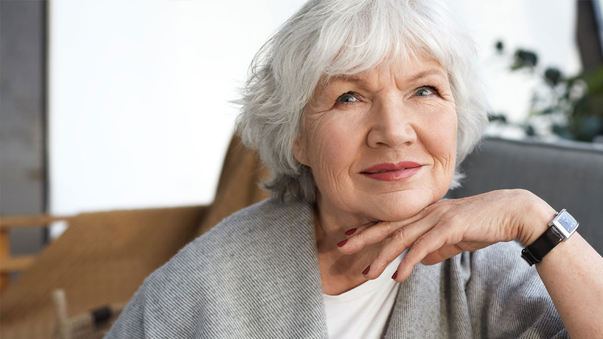 Older woman thinking about her current health