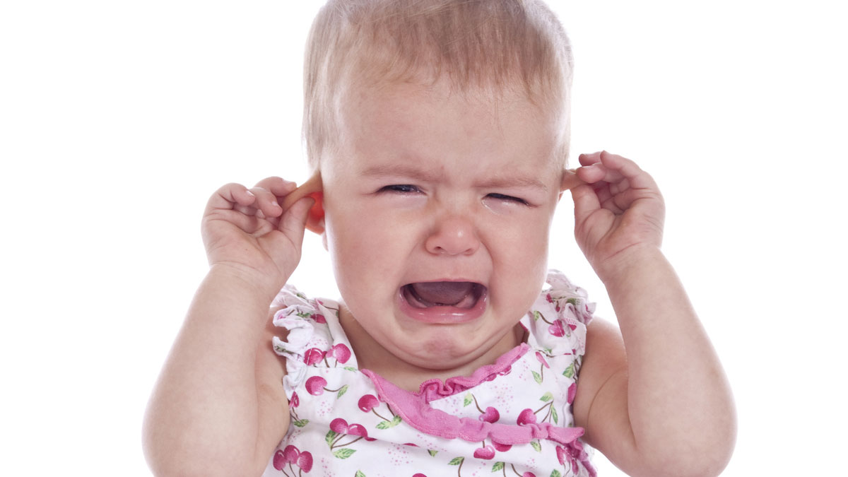Baby crying due to ear pain
