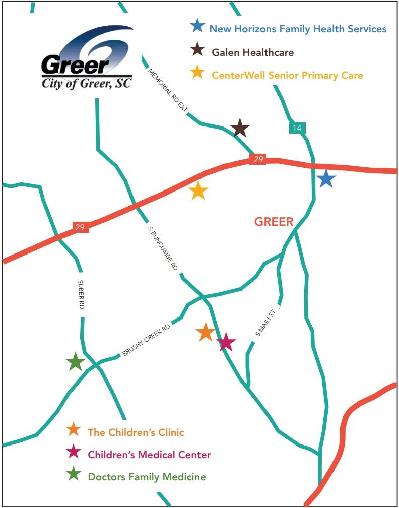 Map of Greer, SC